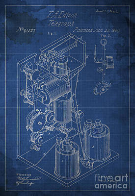 Edison Improvement In Printing Telegraphs Poster by Pablo Franchi