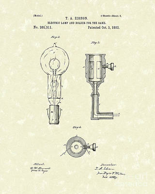 Edison Lamp 1882 Patent Art Poster by Prior Art Design