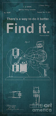 Edison Quote Electrical Printing Instrument Patent Poster by Pablo Franchi