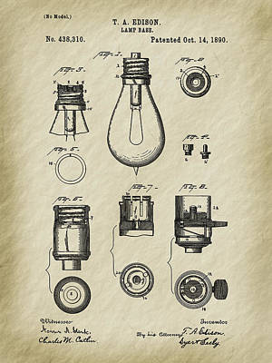 Edison's 1890 Lamp Base Patent Art Poster by Barry Jones