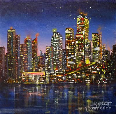Edmonton Night Lights Poster by Mohamed Hirji