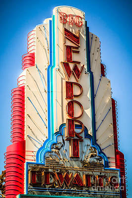 Edwards Big Newport Theatre Sign In Newport Beach Poster by Paul Velgos