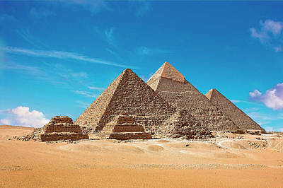 Egypt, Cairo, Giza, View Of All Three Poster by Miva Stock