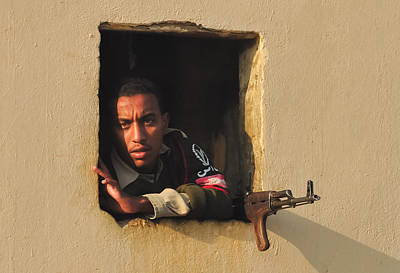 Egyptian Guard With A Gun Poster by Beth Wolff