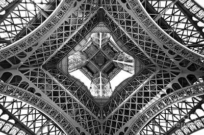 Black And White Paris Poster featuring the photograph Eiffel Abstract by Delphimages Photo Creations
