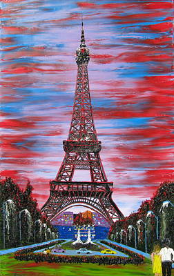 Eiffel Tower At Bastille Day Poster by Portland Art Creations