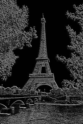 Eiffel Tower Charcoal Negative Image Dark Poster by L Brown