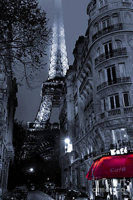 Black And White Paris Poster featuring the digital art Eiffel Tower From A Side Street by Simon Kayne