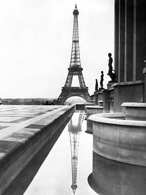 Eiffel Tower Reflection Poster by Underwood Archives
