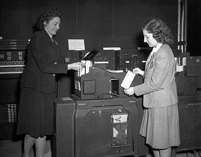 Einac Programmers With Punch Card Machine Poster by American Philosophical Society