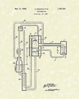 Einstein Refrigerator 1930 Patent Art Poster by Prior Art Design