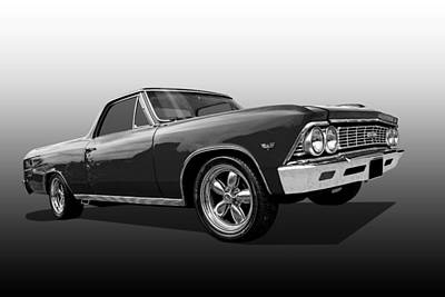 El Camino Ss 1966 In Black And White Poster by Gill Billington