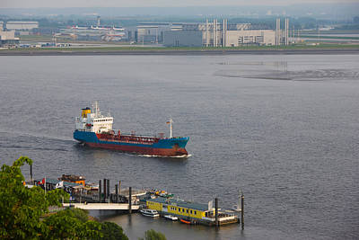 Elbe River And Airbus Factory Poster by Panoramic Images