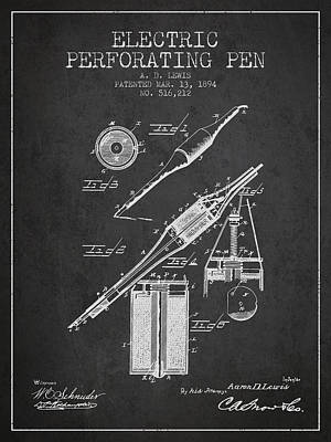 Electric Perforating Pen Patent From 1894 - Charcoal Poster by Aged Pixel