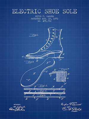 Electric Shoe Sole Patent From 1893 - Blueprint Poster by Aged Pixel