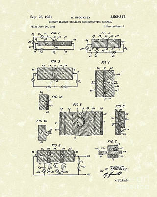 Electrical Circuit 1951 Patent Art Poster by Prior Art Design