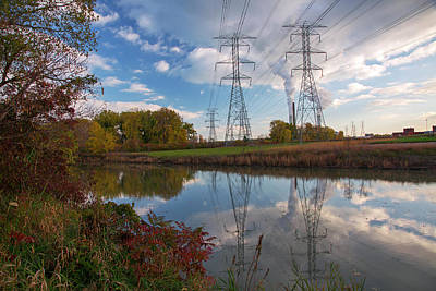 Electricity Pylons By A Lake Poster by Jim West
