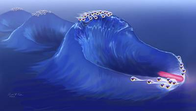 Electrons Surfing A Plasma Wave Poster by Nicolle R. Fuller
