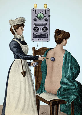 Electrotherapy, Faradization, 1900 Poster by Wellcome Images