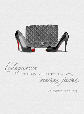 Elegance Never Fades Black And White Poster by Rebecca Jenkins