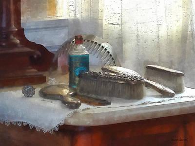 Elegant Silver Hair Brush Set Poster by Susan Savad