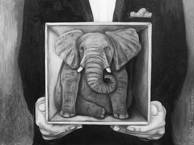 Elephant In A Box Bw Poster by Leah Saulnier The Painting Maniac