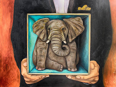 Elephant In A Box Edit 2 Poster by Leah Saulnier The Painting Maniac