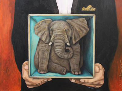 Elephant In A Box Poster by Leah Saulnier The Painting Maniac