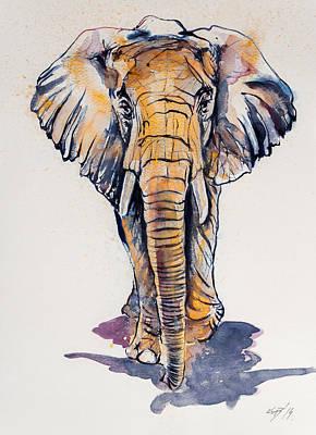 Elephant In Gold Poster by Kovacs Anna Brigitta