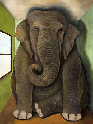 Elephant In The Room Wip Poster by Leah Saulnier The Painting Maniac