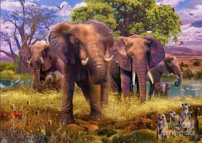 Elephants Poster by Jan Patrik Krasny