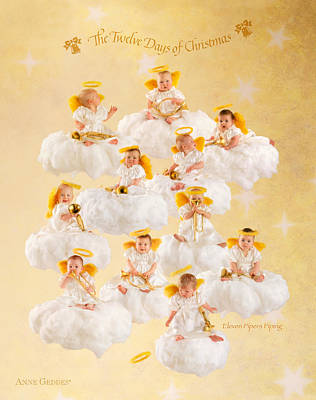 Eleven Pipers Piping Poster by Anne Geddes