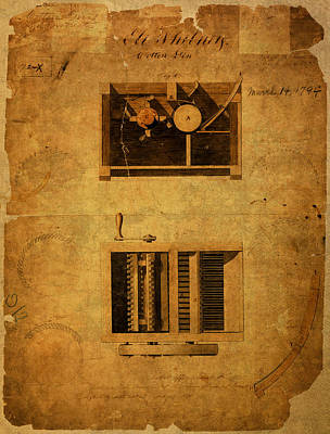 Eli Whitney Cotton Gin Patent Vintage On Worn Canvas Poster by Design Turnpike