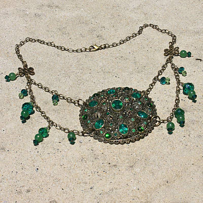 Emerald Vintage New England Glass Works Brooch Necklace 3632 Poster by Teresa Mucha