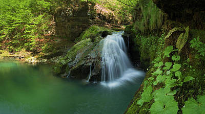 Emerald Waterfall Poster by Davorin Mance