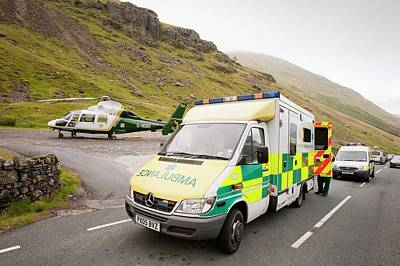 Emergency Services At Crash Site Poster by Ashley Cooper