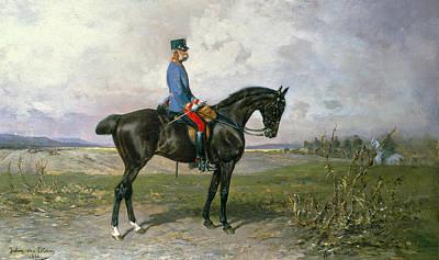 Emperor Franz Joseph I On His Austrian Horse, 1898 Poster by Julius von Blaas