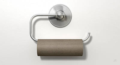 Empty Toilet Roll On Chrome Hanger Poster by Allan Swart