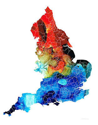 England - Map Of England By Sharon Cummings Poster by Sharon Cummings