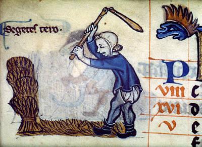 England Threshing Wheat Poster by Granger