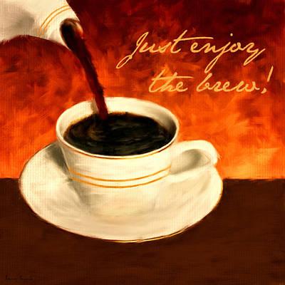 Enjoy The Brew Poster by Lourry Legarde