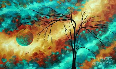 Enormous Abstract Art Brilliant Colors Original Contemporary Painting Reaching For The Moon Madart Poster by Megan Duncanson