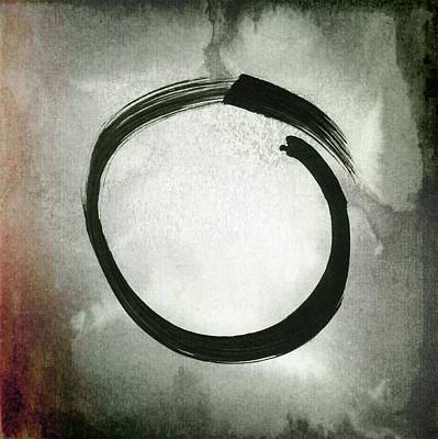 Enso #3 - Zen Circle Abstract Red And Black Poster by Marianna Mills