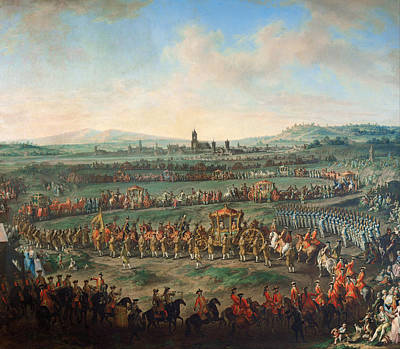 Entrance Of The Emperor Franz I Stephan And His Son Joseph II Into Frankfurt Poster by Johann Dallinger Von Dalling