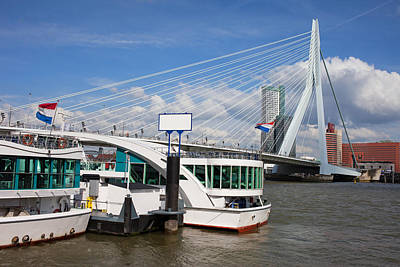Erasmus Bridge In Rotterdam Downtown Poster by Artur Bogacki