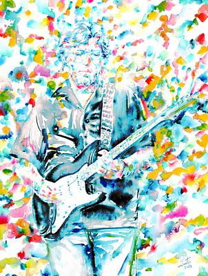 Eric Clapton - Watercolor Portrait Poster by Fabrizio Cassetta