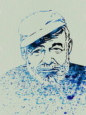 Ernest Hemingway Watercolor Poster by Naxart Studio