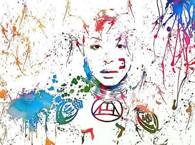 Erykah Badu Paint Splatter Poster by Dan Sproul