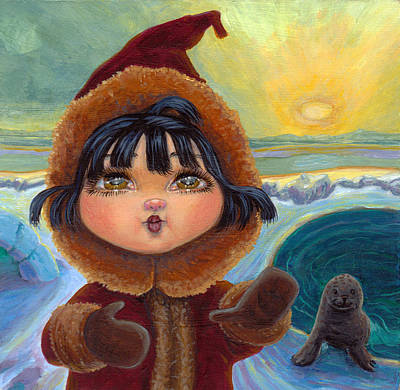 Eskimo Girl In Low Light Poster by Jacquelin Vanderwood