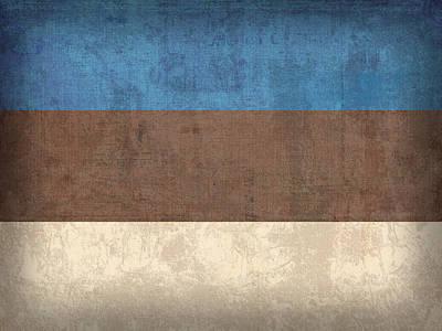 Estonia Flag Vintage Distressed Finish Poster by Design Turnpike